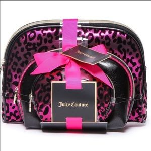 Juicy Couture 3pc Leopard Cosmetic Travel Bag Set